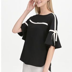 Calvin Klein Flutter Sleeve Top Contract Piping